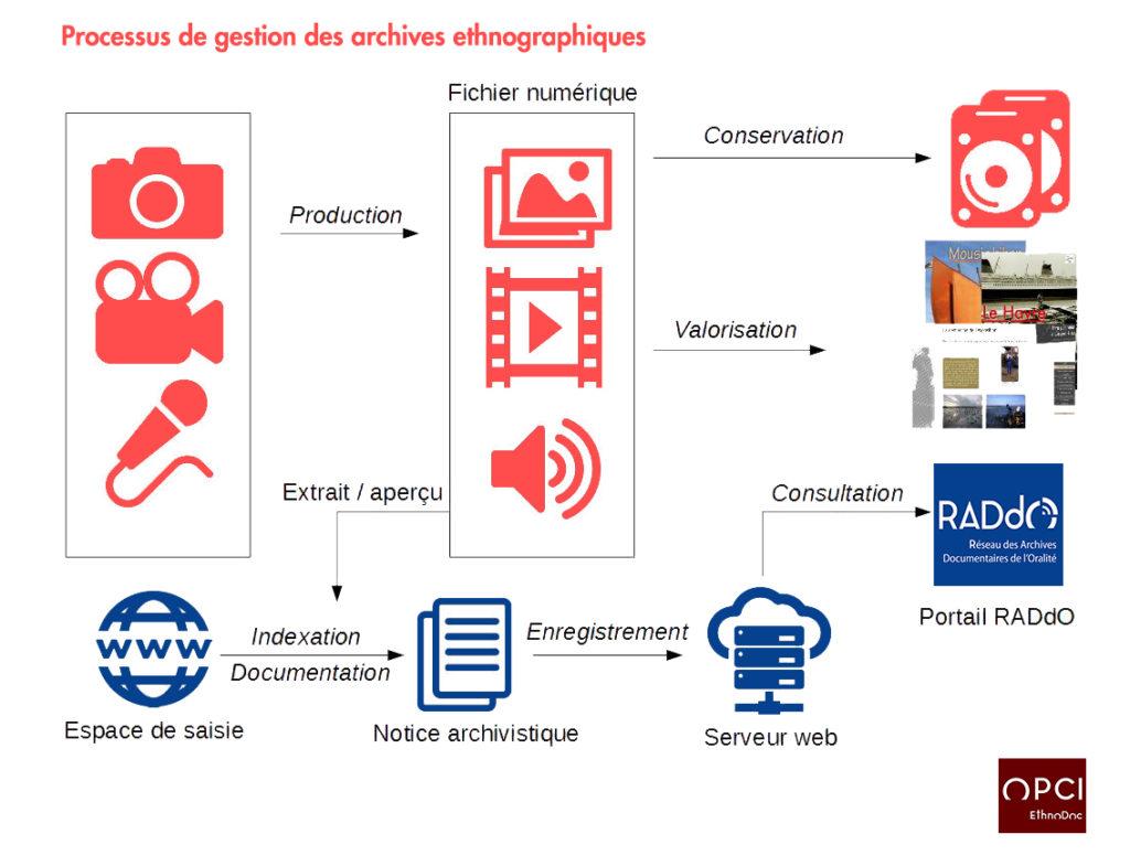 Schéma - Processus de gestion des archives de l'OPCI en lien avec la base RADdO