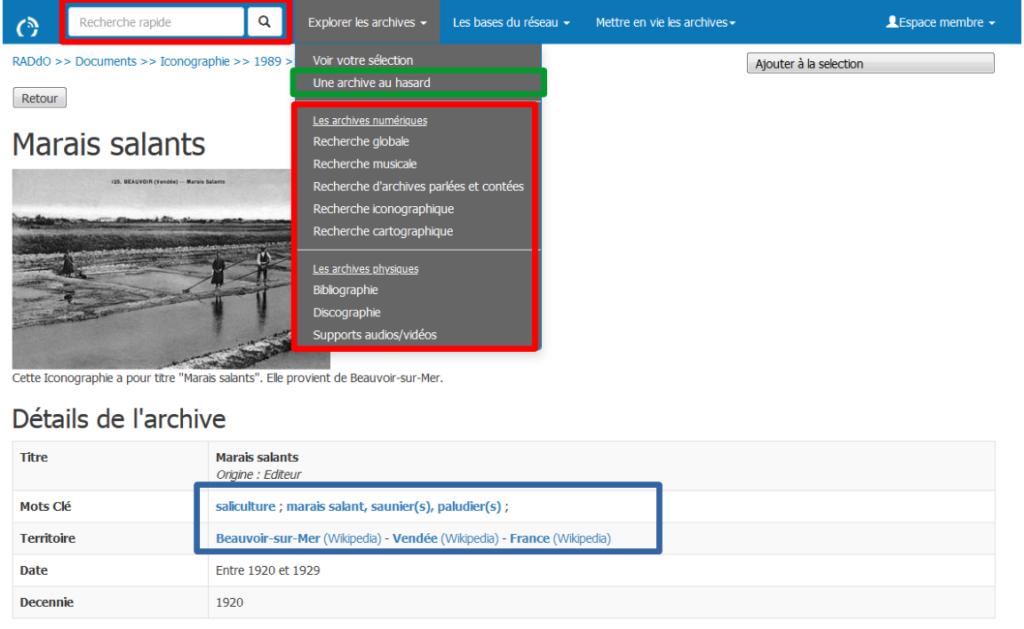 Capture d'écran du portail RADdO