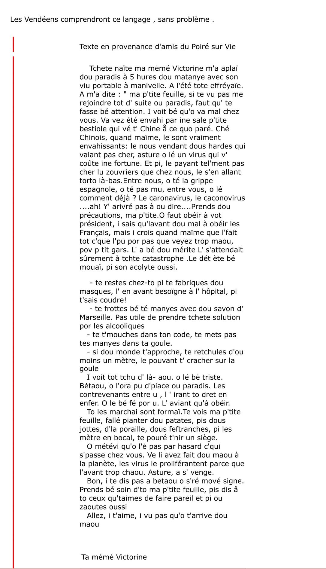 Mail du texte de MT Violleau