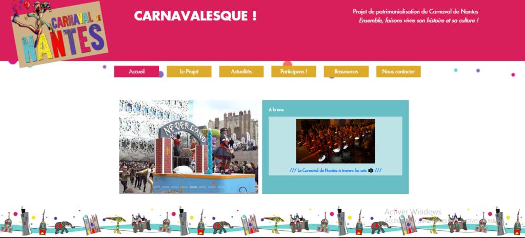 page d'accueil du site carnavalesque